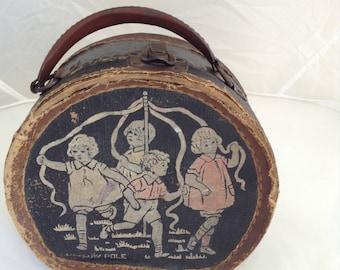 Vintage Child's Round Case with Strap Handle