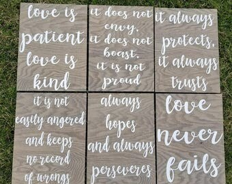 Set of 6 Corinthians 13 Signs, Wedding Aisle Signs, Love is patient, Love is kind, Love never fails, Wedding, Rustic Wedding, Gray 12x16