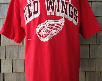 Vintage 90s DETROIT RED WINGS T Shirt - Large - Logo 7