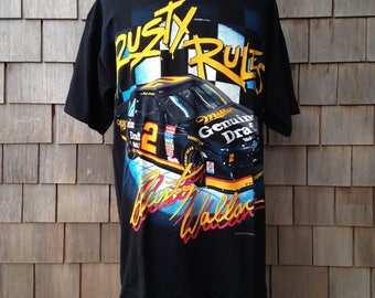 """90s vintage deadstock Rusty Wallace T shirt - """"Rusty Rules"""" - XL - 1994 Nascar"""