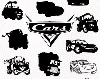 Cars - 15 svg/dxf/eps/silhouette studio/png - Silhouettes, die cutting file clipart Cars Lightning McQueen Mater Pixar Disney characters svg