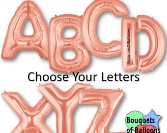 40 Inch - Rose Gold - Big Letter or Number Foil Balloons - Party, Birthday Balloon Name Letters - Wedding Engagement -  Choose Any Letters