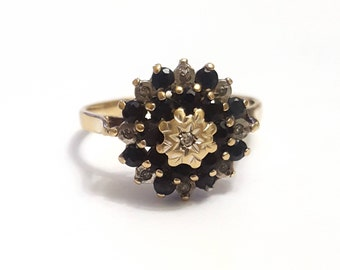 Vintage Diamond and Sapphire Cluster Ring in 9K Yellow Gold