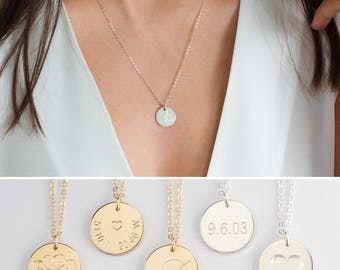 Gold Initial Disc Necklace, Gold Initial Engraved Necklace, Silver Engraved Initial Pendant, Silver Disc Necklace, Gold Date Necklace