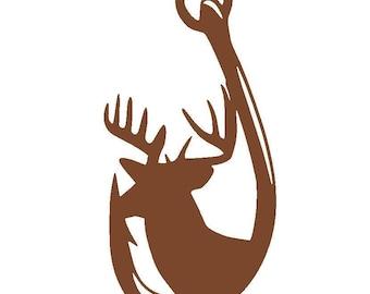 Deer Hunting and Fishing Hook Vinyl Decal | Deer Antlers | Yeti Cup | Car Window Sticker | Laptop | Boyfriend Husband Gift |