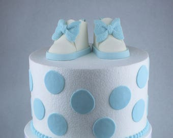 Fondant Baby Shoes Cake Topper - Light Blue and White - Baby Shower Cake Topper - 1st Birthday Cake Topper