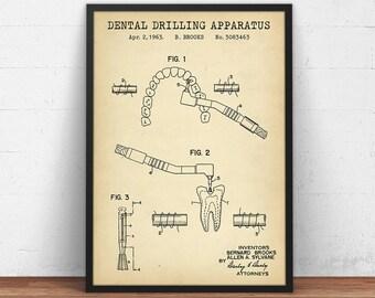 Dental Gifts, Dental Drill Patent Print, Digital Download, Dentistry Decor, Dental Drill Poster Gifts, Dentist Wall Art, Dental Office Decor