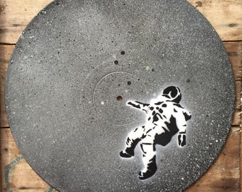 Lost astronaut - Spray paint wall art on vinyl - Grey cosmic