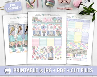APRIL MONTHLY KIT View Printable Planner Stickers/for use with Erin Condren/Cutfiles/Monthly Kit/Easter Rainy Days Garden Pastel Pink Tn