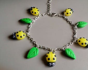 Yellow Ladybug polymer clay bracelet