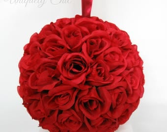 Red rose pomander, Bridesmaid bouquet, Red wedding decorations, Rose ball pew hanger