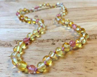 Baby Pink Baltic Amber Teething Necklace - Girly Amber necklace, pink amber necklace, Cherry Quartz, amber baby necklace, soft pink baby