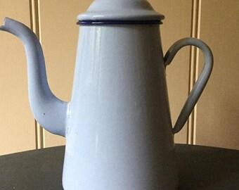 Vintage French Blue Enamel Coffee Pot - Free Postage within Australia