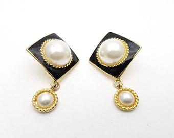 Vintage Diamond Half Faux Pearl Drop Dangle Pierced Earrings Gold Tone Metal Stud Black Geometric Mod Retro Classic Feminine Statement