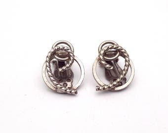 Vintage Clip on 80s Earrings Silver Tone Metal New Wave Industrial Modernist Modern Retro Fashion Runway Feminine