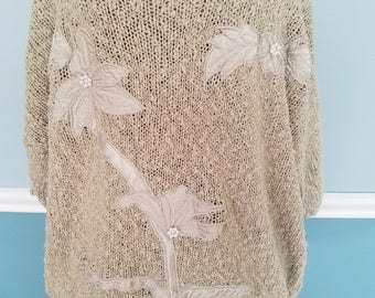 Retro and Cozy! Classic 80's/Early 90s Fashion! Over sized Embellished Beige Pullover Sweater! Floral Design w/ Pearl Accents on the Flowers