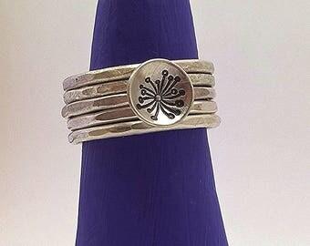 Sterling Silver Stacking Ring Set, 5 rings, dandelion disc