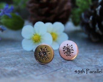 Dandelion Copper Stud Earrings, Hand Stamped Earrings, Copper Earring, Dandelion Jewelry, Stamped Jewelry, Stud Earring, Copper Stud Earring