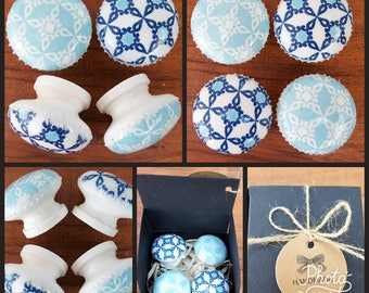 Hand Decorated Blue Pattern Wooden Drawer Knobs Pulls