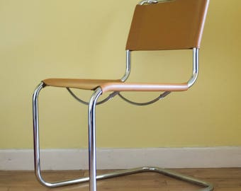 Thonet Desk Chair Cantilever Vintage Original by Mart Stam with Mustard Leather and Chrome Tubular Steel