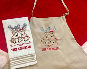 Deer Family Apron and Kitchen Towel Set - Personalized Reindeer Family - Housewarming or Hostess Gift - Christmas Gift Kitchen Set