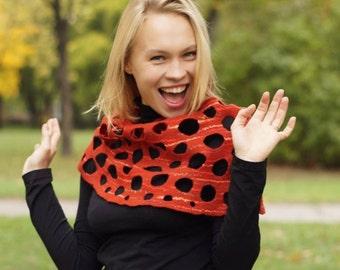 Reg snud, Felted snud, Scarf for women, felted scarf, wool scarf, brown scarf, reg scarf, winter scarf, beautiful scarf, openwork scarf