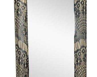 Victorian Cream Black Eyelash Lash Lace Rectangle Mirror Hallway Bedroom