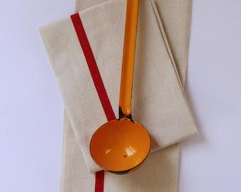 French vintage orange enamel louche