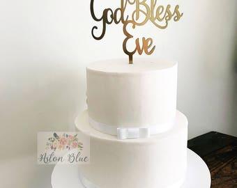 Personalised God Bless Cake Topper- Baby Christening/First Communion/Naming Topper/Cross Topper/Christening Topper/Baptism Topper/Bless Cake