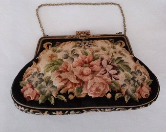 Dainty Petit Point Purse - Made in Austria - Handmade European Purse - Needlepoint Evening Bag- Needlepoint Roses Bag