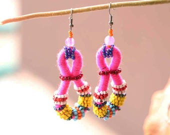 Stunning Pink Earrings With Colorful Beads