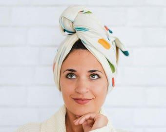"24"" x 40"" polka dot organic cotton t-shirt hair towel"