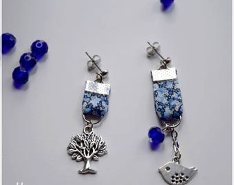 Liberty Blue with silver bird and tree mismatched earrings