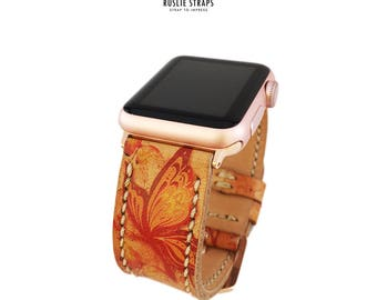 Apple Watch Straps Hand-Stitched Handmade Butterfly Patern, Series 1 Series 2, 42mm or 38mm Apple Watch Leather