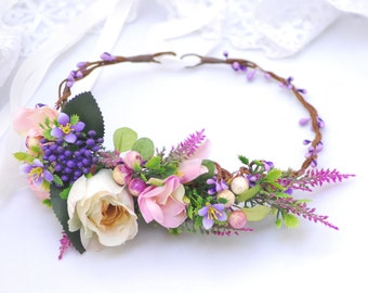 Lavender floral crown Bridal floral crown Wedding hair wreath Flower headband Wedding headpiece Flower halo Winter wedding flower
