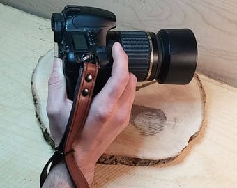 Leather Camera Wrist Strap, Choose from many colors, made to order
