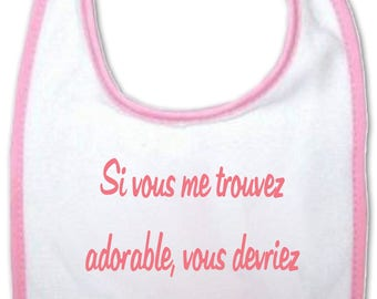 Baby bib if you think I'm cute you should see my aunt - blue or pink