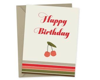 Striped Happy Birthday card, blank inside A2 retro cherry greeting