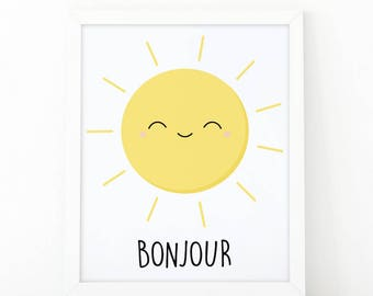 Bonjour, printable art, Rise and shine, nursery wall art, good morning print, cute sun, nursery printable art, baby shower, instant download