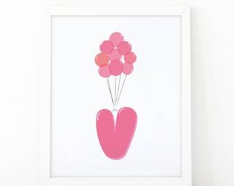 Initial v, V letter Balloons, Letter Nursery, baby pink Balloons, initial Printable, Nursery Initial Print, pink Initial Balloons, Up disney