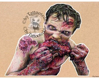 The Walking Dead - Zombie Eating - Fine Art Print - A4/A3