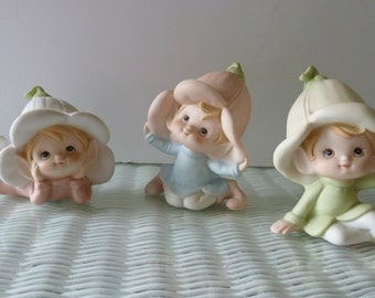 Homco figurines/Baby Elves w Lily Tulip Hats/Set of 3 Home Interior figurines 1960's Taiwan/Vintage Nursery/Pastel/Baby's room/PT OT decor