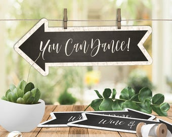 16 Wedding Direction Signs, Reception Sign / Arrow Signs / Chalkboard Sign, PDF, Instant Download, #PTL1_02_01
