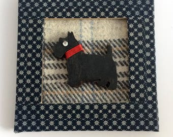 Black Scottie Dog Tartan Mini Picture / Large Gift Tag / 3 x 3 inches mini frame picture