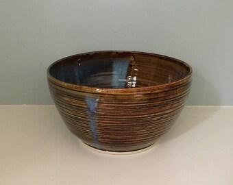 Oval Ridged Handmade Ceramic Bowl