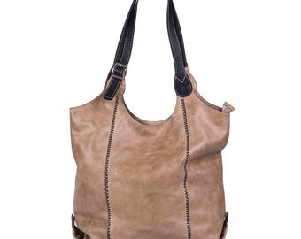 Tobacco leather bag,  leather shopper, real leather tote, shoulder bag, leather bag, leather purse, leather tote bag, leather gifts for wife