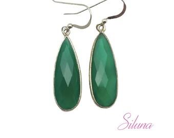 Drop dangle earrings sterling silver 925 and green onyx