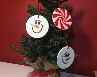Christmas Ornament - Snowman Ornament - Candy Cane Ornament - Personalized - Ceramic - Stocking Stuffer - Christmas Gift - Secret Santa Gift