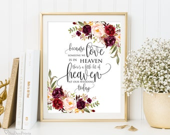 Wedding Memorial Sign, Heaven Wedding Sign, Memorial Table, Someone We Love is in Heaven, In Loving Memory, Burgundy, Instant Download, A047