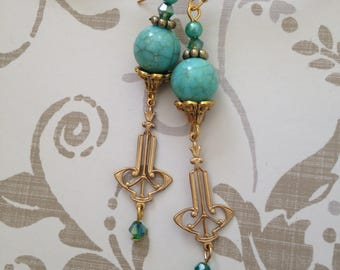 GOLD DECO EARRINGS  Turquoise Crystal Dangle